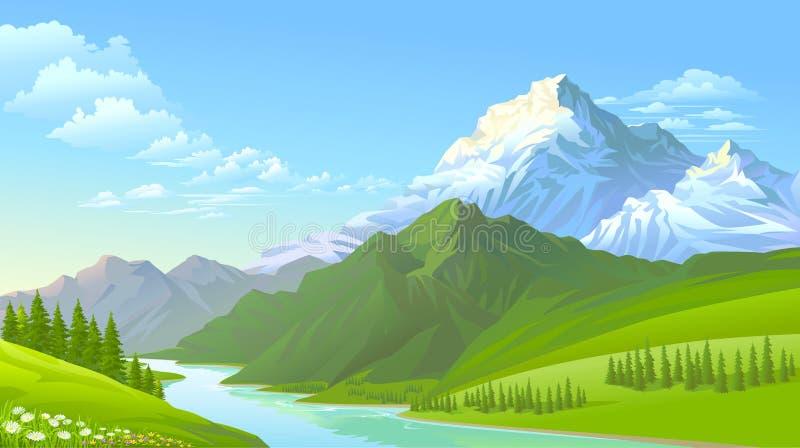 De ijzige bergen, de groene heuvels en de koude stromende rivier royalty-vrije illustratie
