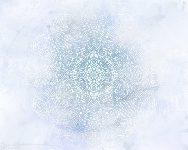 De ijzige lichtblauwe achtergrond van mysticus abstracte mandala royalty-vrije stock afbeeldingen