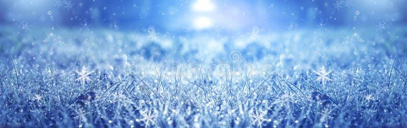De ijzige ochtend van de winter De achtergrond van de de wintersneeuw, blauwe kleur, sneeuwvlokken, zonlicht, macro stock illustratie