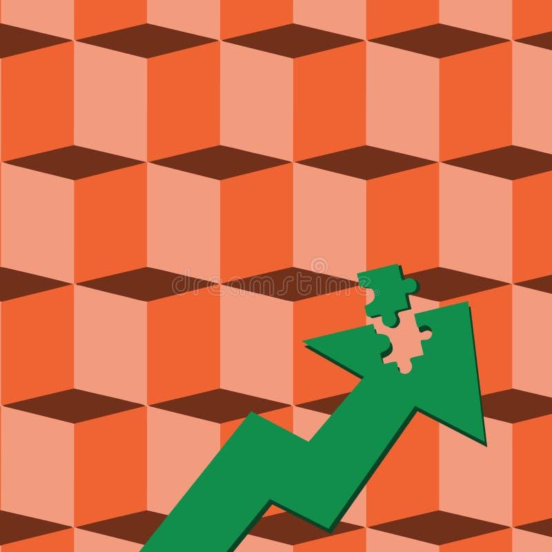 De Illustratie die van de kleurenpijl omhoog met Losgemaakt Deel zoals het Stuk van de Puzzeltegel richten Creatief concept als a vector illustratie