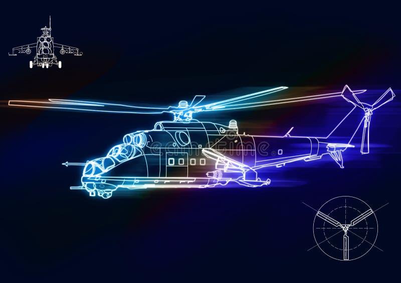 De illustratie donkere achtergrond van het helikopterconcept royalty-vrije illustratie