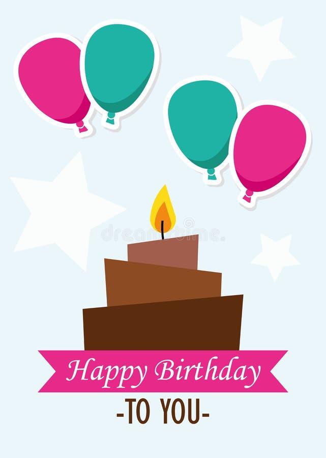 De Illustratie Grafische Vector Gelukkige Verjaardag van de affichekaart aan u stock illustratie
