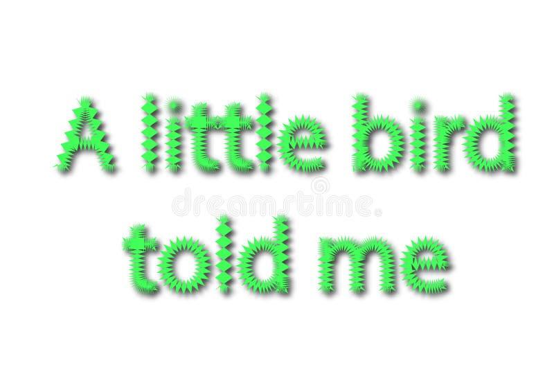 De illustratie, idiomatische uitdrukking schrijft een kleine vogel me geïsoleerd in een wh vertelde stock afbeeldingen