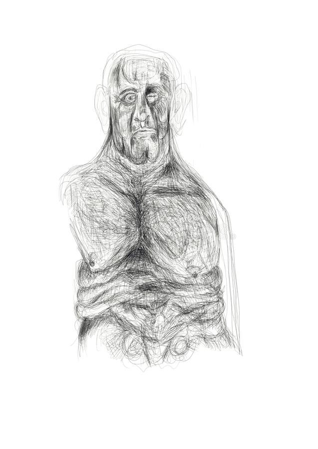 De illustratie leidde tot in potlood afschilderend een denkbeeldig, solitair, melancholisch menselijk cijfer Minimalistische en g vector illustratie