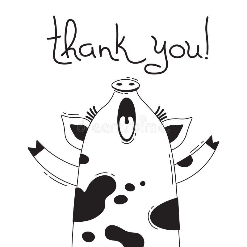 De illustratie met blije piggy wie zegt - dankt u Voor ontwerp van grappige avatars, affiches en kaarten Leuk dier stock illustratie