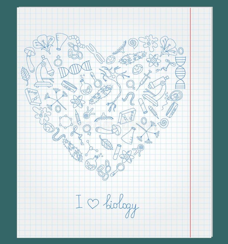 De illustratie met notitieboekjedocument met wordt pictogrammen op het thema van biologie geschikt in de vorm van een hart royalty-vrije illustratie