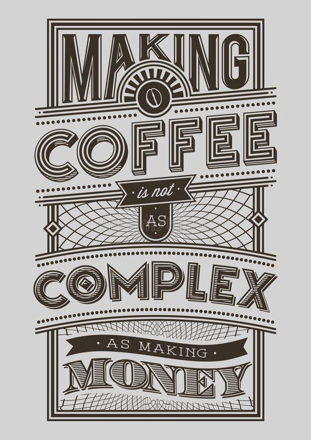 De illustratie motievenaffiche van de koffietypografie vector illustratie