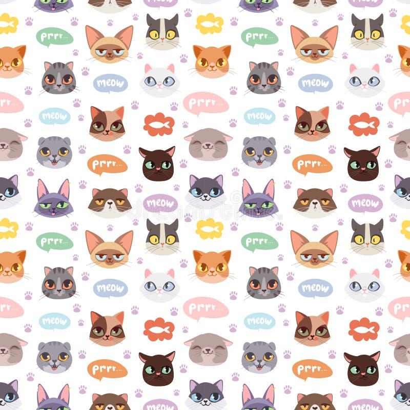 De illustratie naadloos patroon van katten vectorhoofden stock illustratie