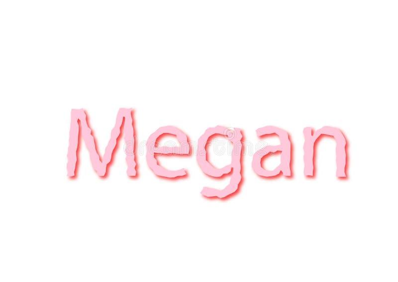 De illustratie, naam Megan isoleerde op een witte achtergrond royalty-vrije stock foto