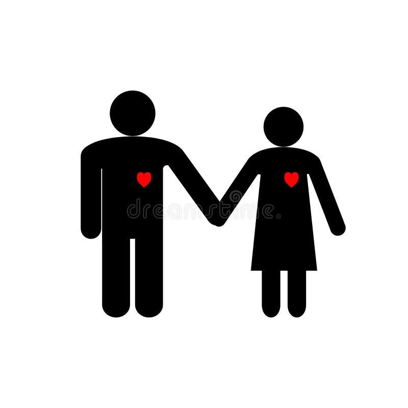 De illustratie op de dag van Valentine stelt zwarte pictogrammenmannen en vrouwen voor die handen met rode harten houden royalty-vrije illustratie