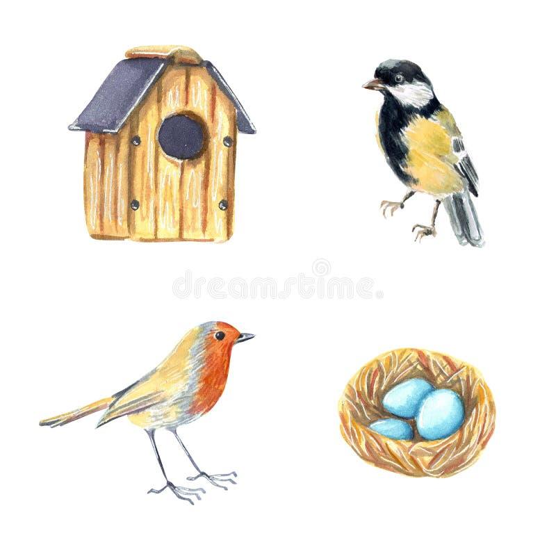 De illustratie plaatste met vogelhuis, nest met eieren, mees en Robin royalty-vrije illustratie