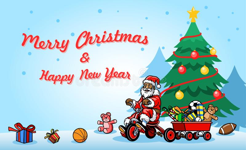 De Illustratie Santa Claus Ride Bicycle Next To van groetkerstmis vector illustratie