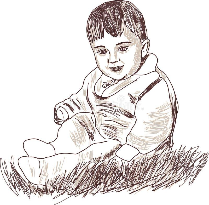 De illustratie toont een kind in een grafische stijl royalty-vrije illustratie