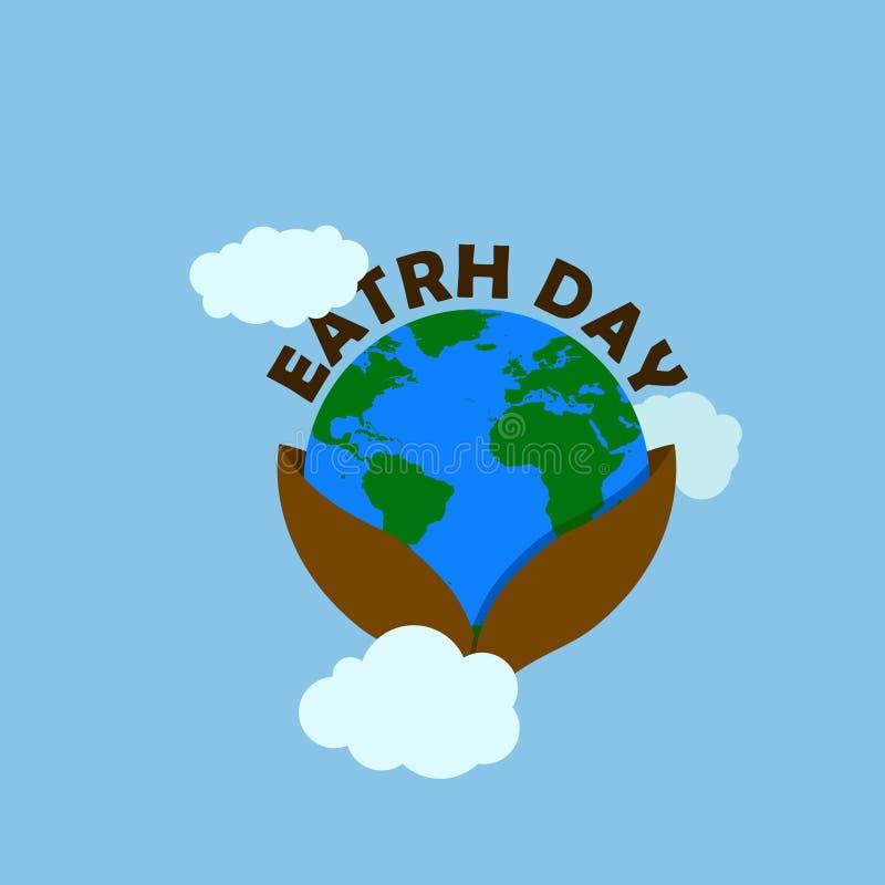 De illustratie van de aardedag met de bruine typografie van de aardedag bij de bodemtypografie heeft aarde in kop met wolk gelukk stock illustratie