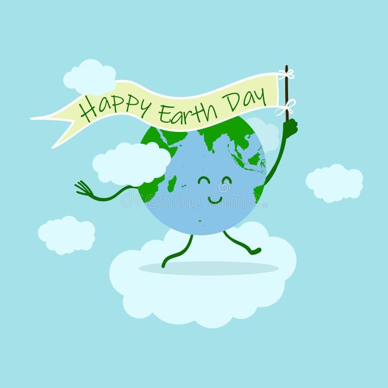 De illustratie van de aardedag met de gelukkige holding van het aardekarakter op de gelukkige vlag van de aardedag rond illustrat vector illustratie