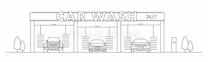 De illustratie van de autowasserettelijn met drie auto's in een tunnel carwash vector illustratie