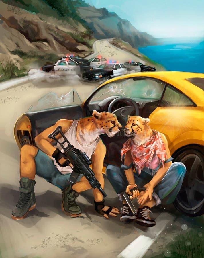 De illustratie van de bandieten vlucht van de politie stock illustratie