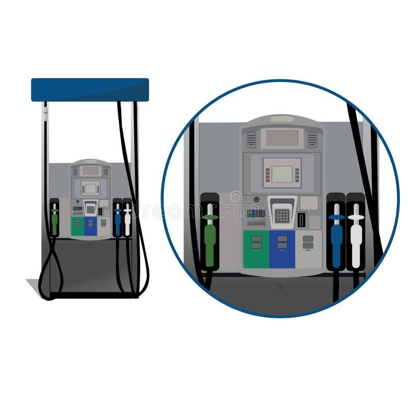 De illustratie van de benzinestationbenzinepomp vector illustratie