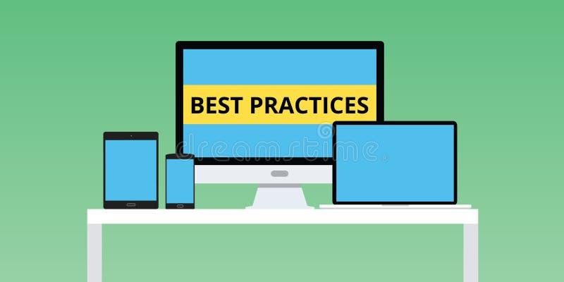 De illustratie van beste praktijkenpraktijken met het multiplatform van notitieboekjesmartphone stock illustratie
