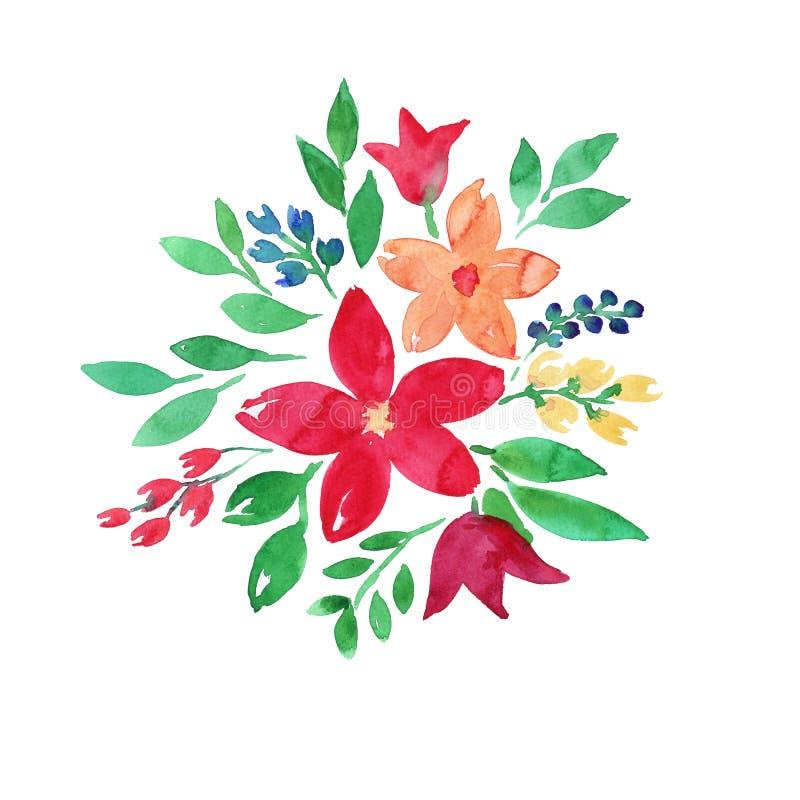 De illustratie van Boho van de bloemenwaterverf Leuke, Bloemenachtergrond Verjaardagskaart of huwelijksuitnodiging Hand-drawn stock illustratie
