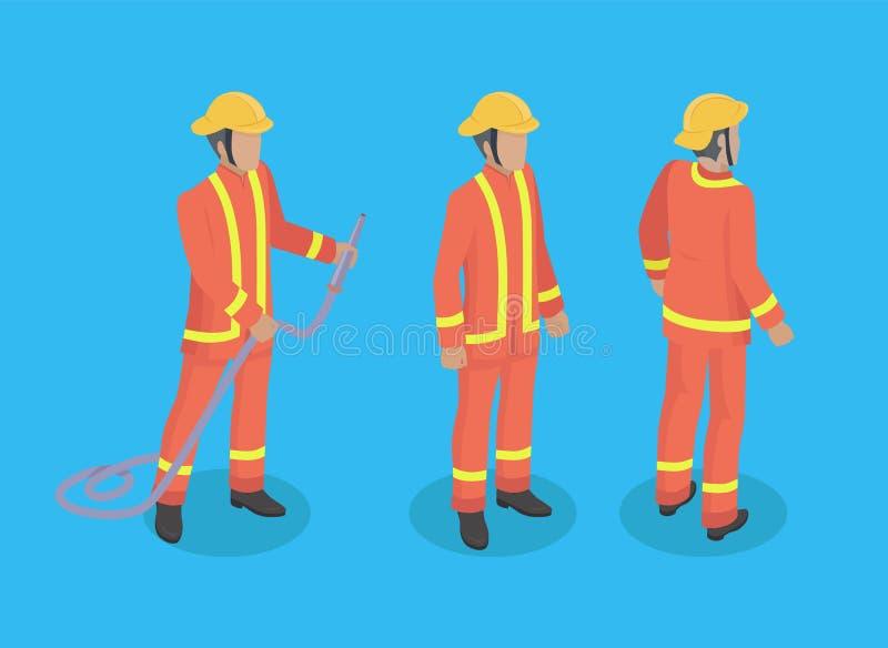 De Illustratie van brandbestrijdersconstruction set vector stock illustratie