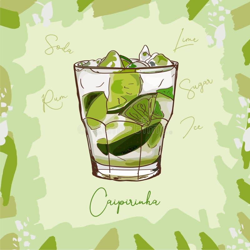 De illustratie van de Caipirinhacocktail De alcoholische klassieke getrokken vector van de bardrank hand Pop-art stock illustratie