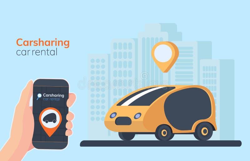 De illustratie van de carsharingsdienst Stedelijke landschapsachtergrond, geolocation, auto en smartphone ter beschikking Online  stock illustratie