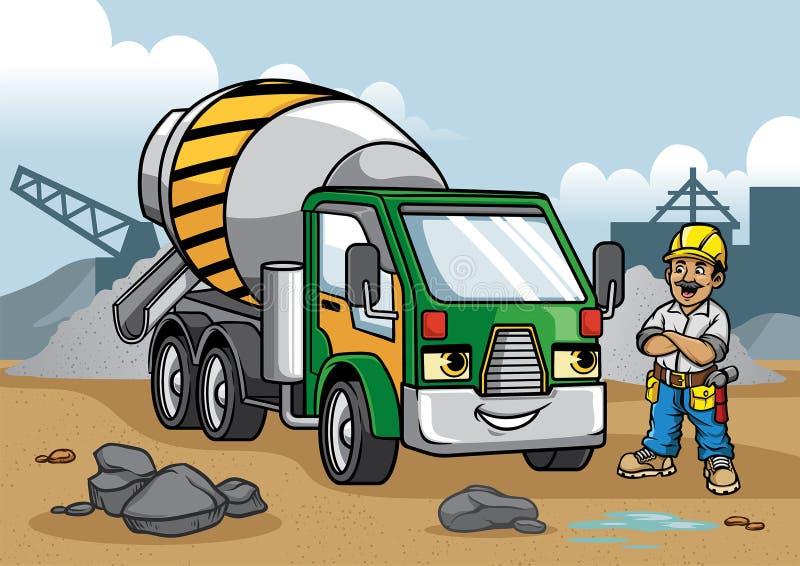 De illustratie van de cementvrachtwagen op bouwwerf vector illustratie