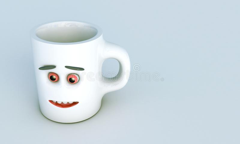 De illustratie van 3D geeft als resultaat van een grijze ceramische mok met gezichts vooraanzicht gecreeerd over de achtergrond t vector illustratie