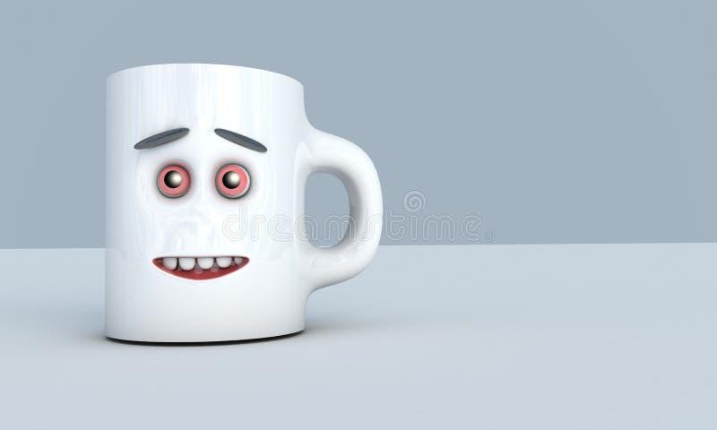 De illustratie van 3D geeft als resultaat van een grijze ceramische mok met gezichts vooraanzicht gecreeerd over de achtergrond t royalty-vrije illustratie