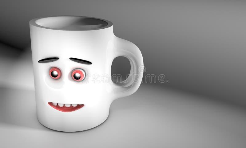De illustratie van 3D geeft als resultaat van een grijze ceramische mok met gezichts vooraanzicht gecreeerd over de achtergrond t stock illustratie