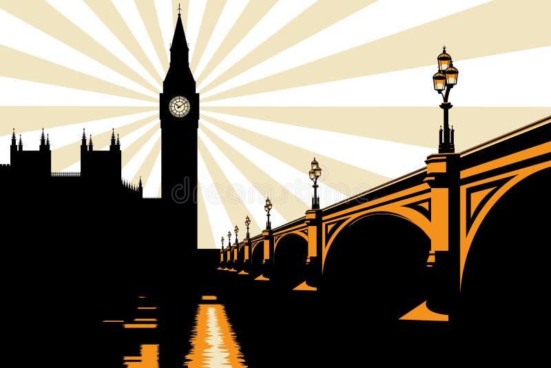 De Illustratie van de Big Ben Londen van het art deco stock illustratie