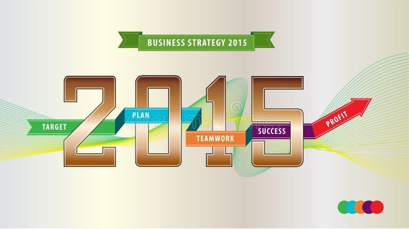 De illustratie van de boekjaarstrategie (verklaar het doel, het plan, het teamwerk, het succes en de winst) voor presentatie, web vector illustratie