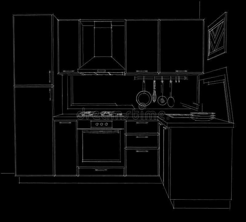 De illustratie van de contourschets van moderne hoekkeuken met gebouwd in zwart-witte koelkast royalty-vrije illustratie