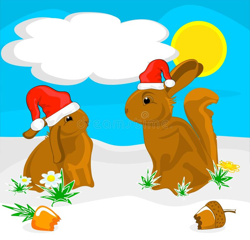 De illustratie van de de eekhoorn squabbit grap van het chocoladekonijn stock illustratie