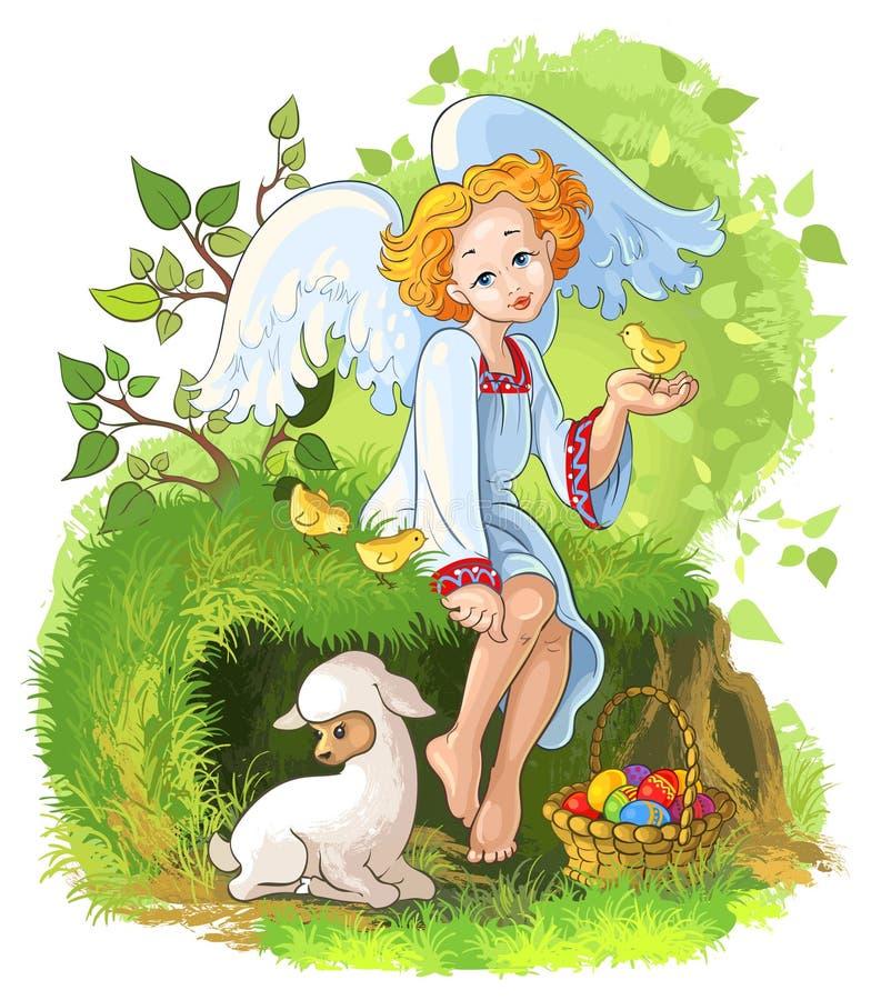Leuk engelenmeisje met de mand, de kippen en l van Pasen royalty-vrije illustratie