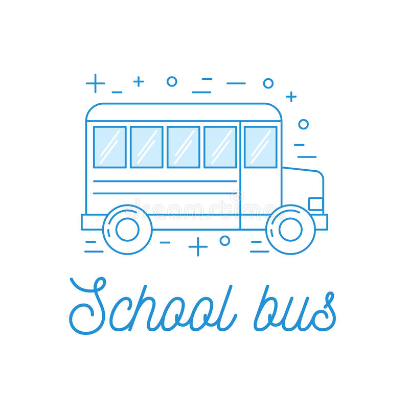 De illustratie van de de lijnkunst van de schoolbus royalty-vrije illustratie