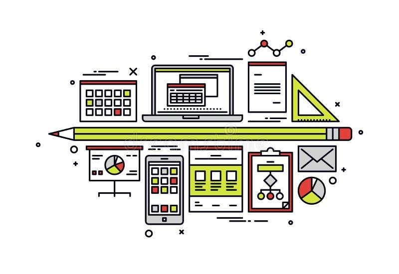 De illustratie van de de lijnstijl van het boekhoudingswerkschema vector illustratie