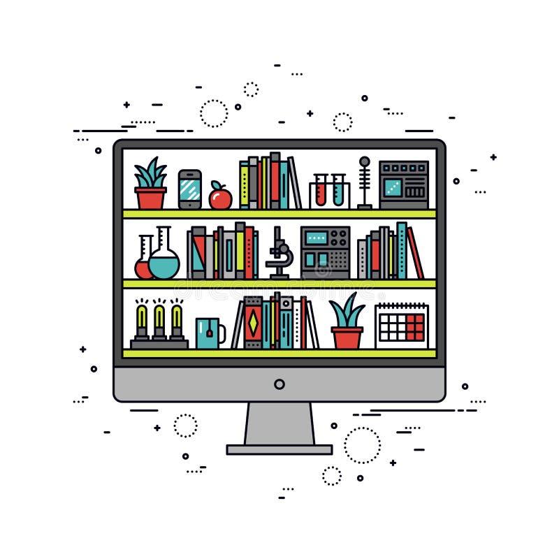 De illustratie van de de lijnstijl van het computeronderwijs royalty-vrije illustratie