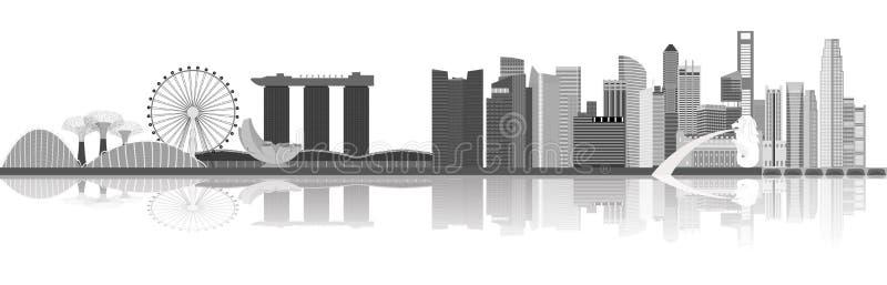 De illustratie van de de stadshorizon van Singapore royalty-vrije illustratie