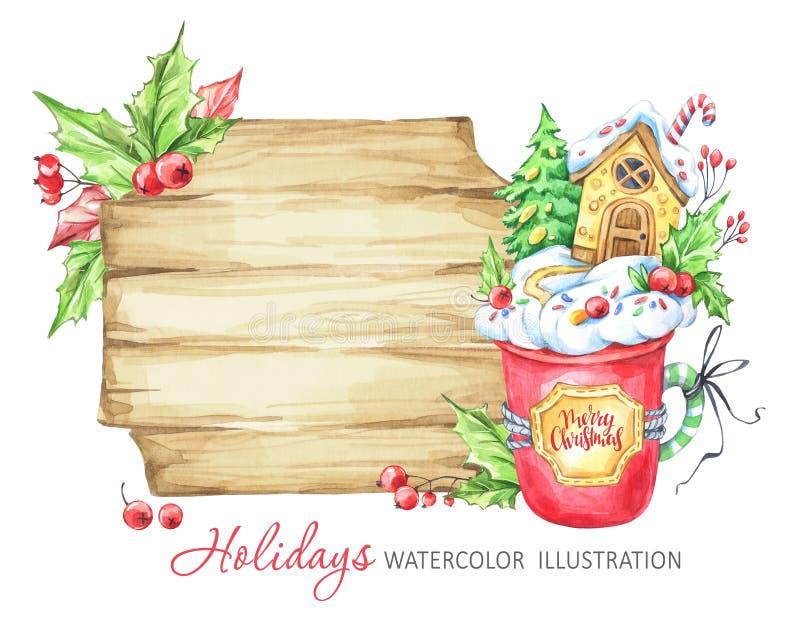 De illustratie van de de wintervakantie Waterverf houten kader, een kop van room en een peperkoekhuis binnen vector illustratie