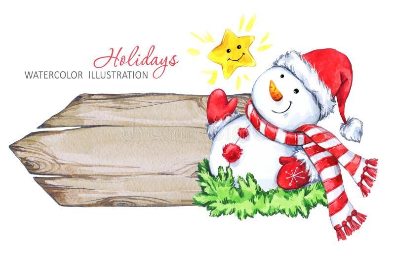 De illustratie van de de wintervakantie Waterverf houten kader met Sneeuwman stock illustratie