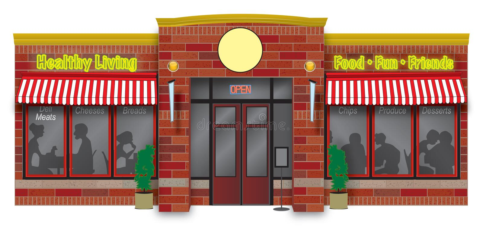 De illustratie van de delicatessenwinkel storefront stock illustratie