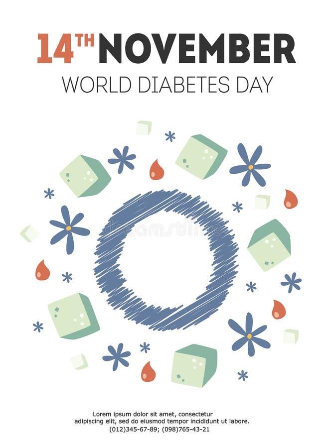 De illustratie van de diabetesdag royalty-vrije stock afbeeldingen
