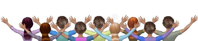 De Illustratie van de Gebedenworshipers van de kerkmassa stock illustratie