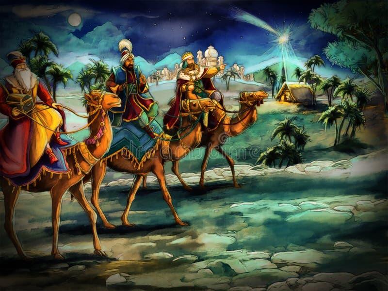 De illustratie van de heilige familie en drie koningen royalty-vrije illustratie