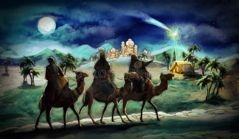 De illustratie van de heilige familie en drie koningen stock illustratie