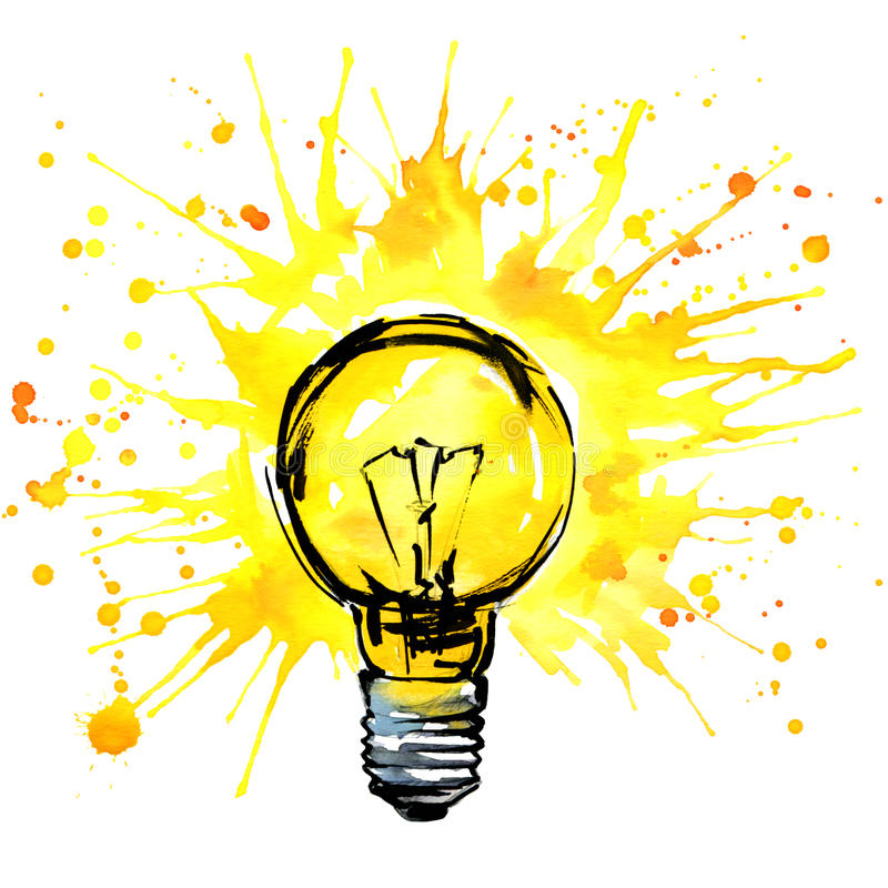 De illustratie van de het conceptenwaterverf van het Lightbulbidee Hand getrokken teken