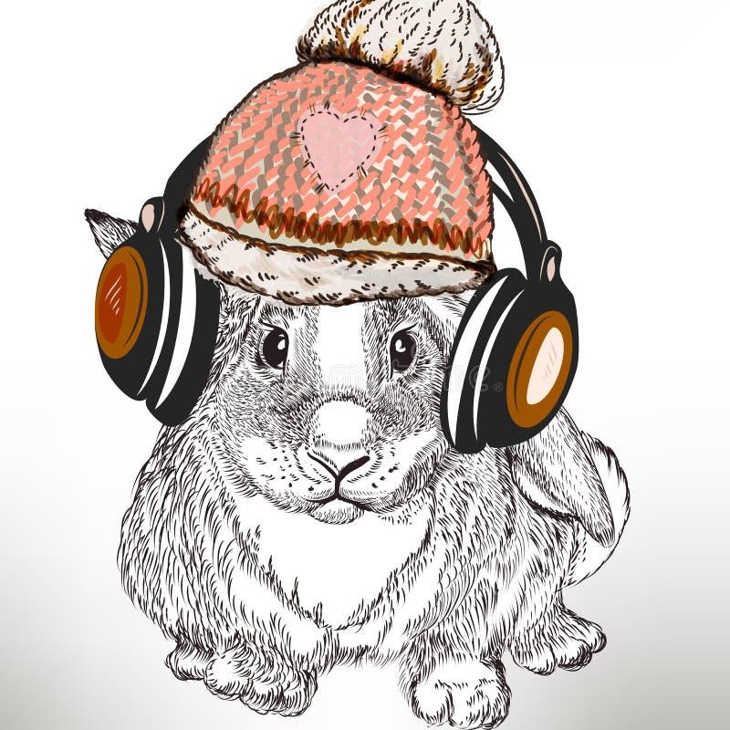 De illustratie van de Hipstermanier met konijn luistert muziek in hoofdtelefoon royalty-vrije illustratie