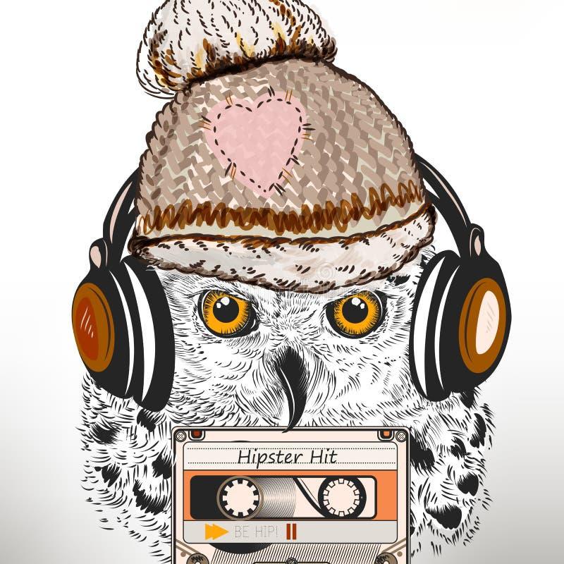 De illustratie van de Hipstermanier met witte uil luistert muziek in hoofd stock illustratie